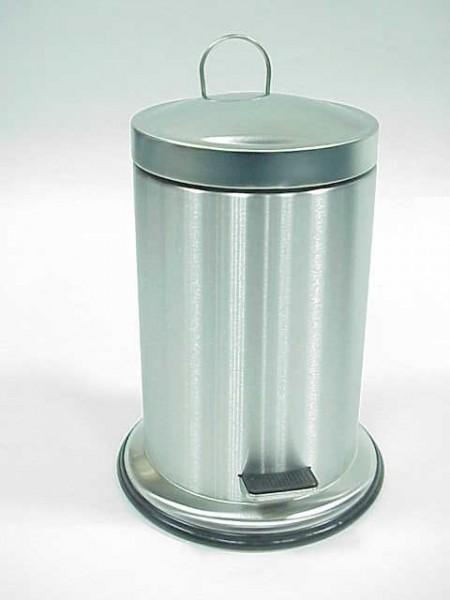 不鏽鋼霧面圓形寬邊底座腳踏垃圾桶