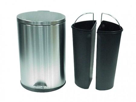 不鏽鋼橢圓形雙內桶腳踏垃圾桶