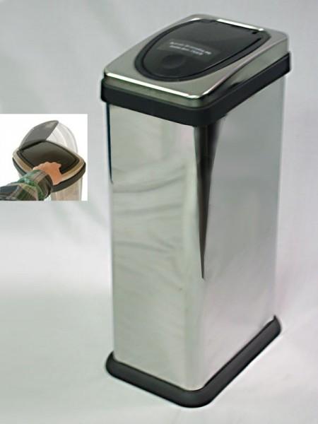 不鏽鋼金面直長方盾形蓋中型垃圾桶