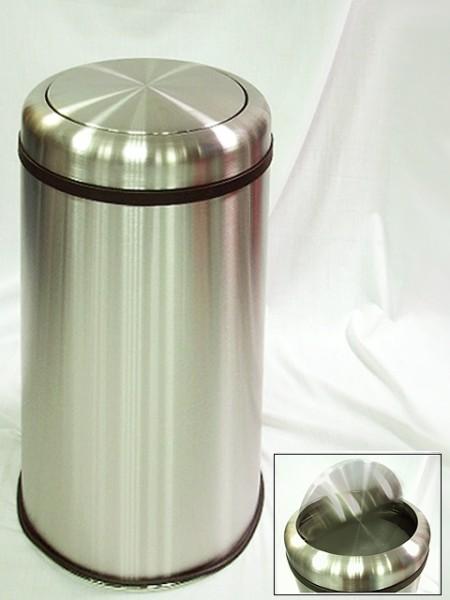 搖擺推式不鏽鋼砂面圓柱形大型垃圾桶
