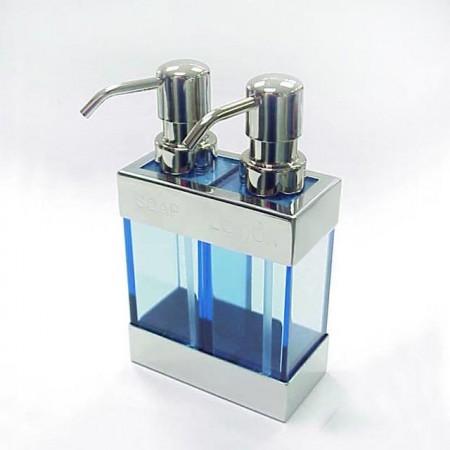 不鏽鋼方型雙胞胎MS藍色乳液罐