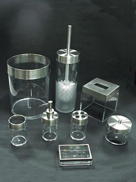 透明MS圓柱型不鏽鋼蓋衛浴八件組