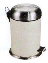 圓形烤米白漆腳踏小垃圾桶