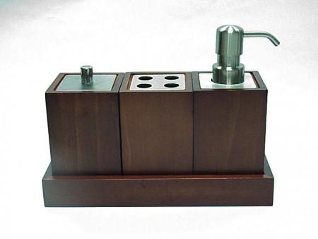正方型深色松木製衛浴三件組
