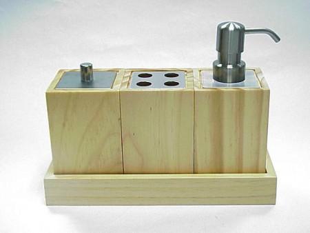 正方型松木製衛浴三件組