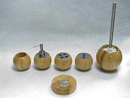木製圓球型衛浴六件組
