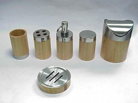 木製圓柱型衛浴六件組