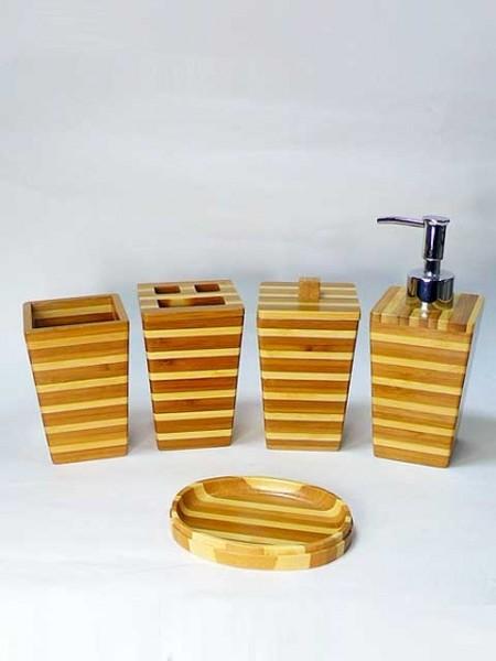 方體倒錐形條紋竹子衛浴五件組