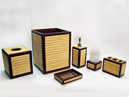 全竹製雙色衛浴六件組