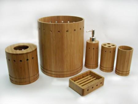 全竹製燈塔造型衛浴六件組