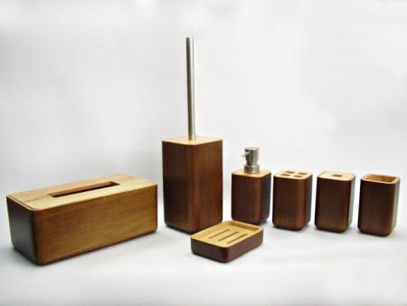竹製圓四方雙色衛浴七件組