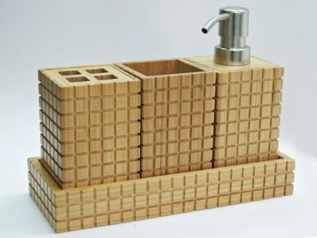 竹製格紋方型衛浴四件組