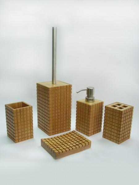 竹製格紋方型衛浴五件組
