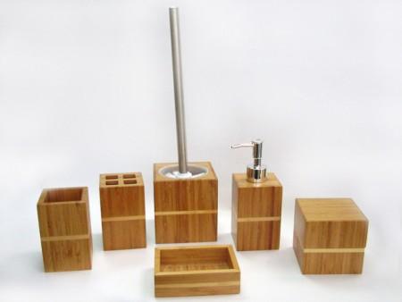 全竹製方型衛浴六件組