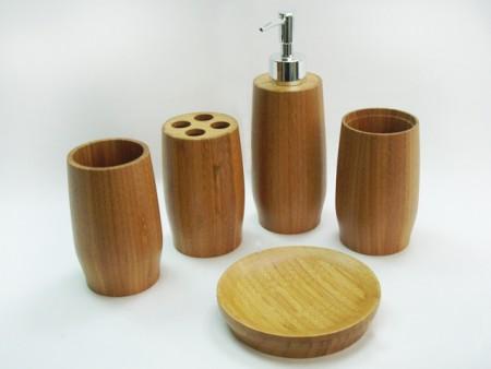 全竹製花苞造型衛浴五件組