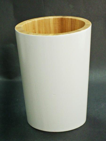 全竹製雙色圓柱造型漱口杯
