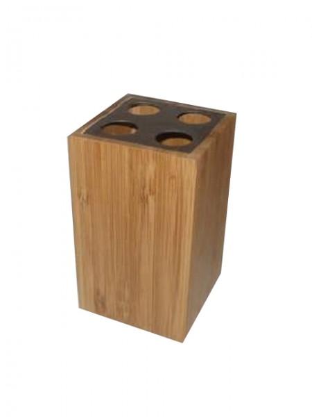 竹製方型不鏽鋼蓋牙刷罐