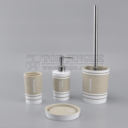 5 Pieces Cylinder Shape Poly Bathroom Set