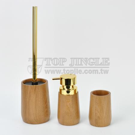 Набор аксессуаров для ванной комнаты в форме деревянного цилиндра
