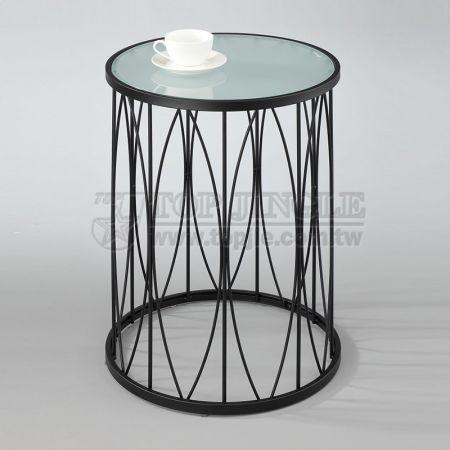 Круглый стеклянный журнальный столик из металлической проволоки