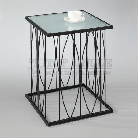 Металлическая проволока квадратный стеклянный журнальный столик