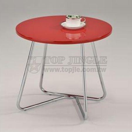 Красный журнальный столик круглой формы