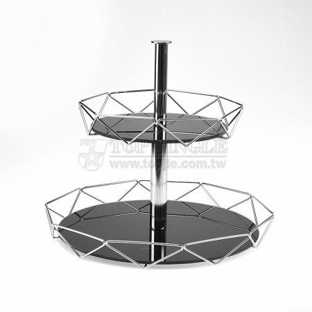 圓鐵線菱格造型二層點心盤