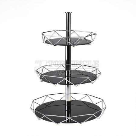 圓鐵線菱格造型三層點心盤
