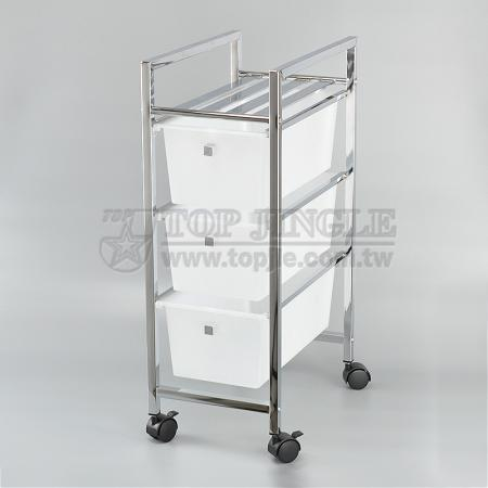 White Narrow Drawer Trolley