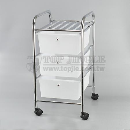 White Wide Drawer Trolley