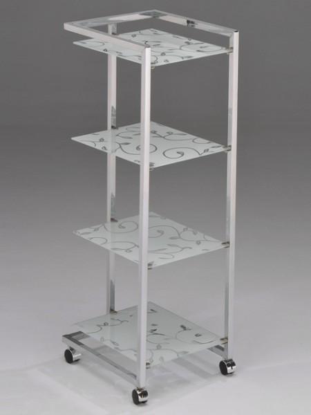 四層印刷藤蔓造型玻璃置物車
