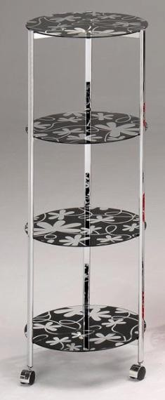 圓三腳印花四層玻璃車