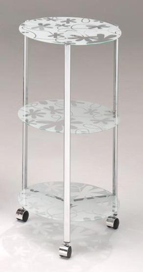圓三腳印花三層玻璃車