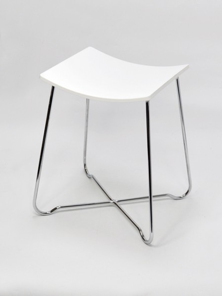 白色方弧型壓克力鐵線單椅
