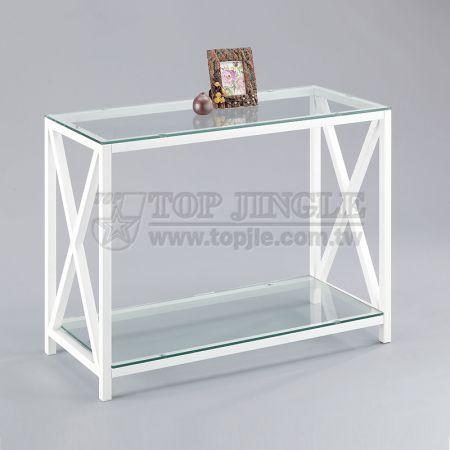 2層ガラス棚ラック