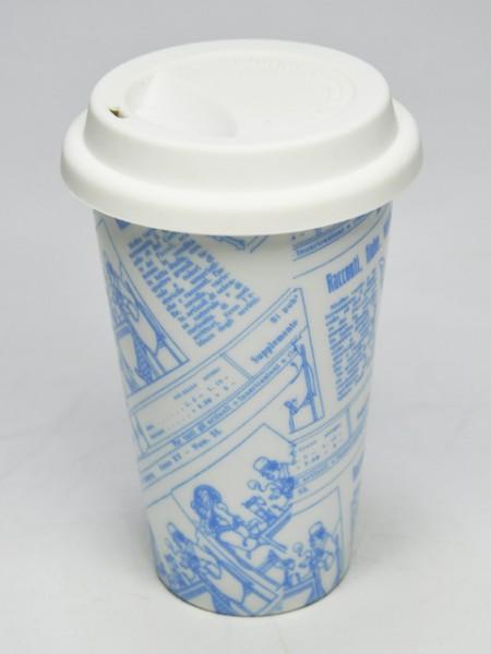 藍色印刷圓錐型環保杯