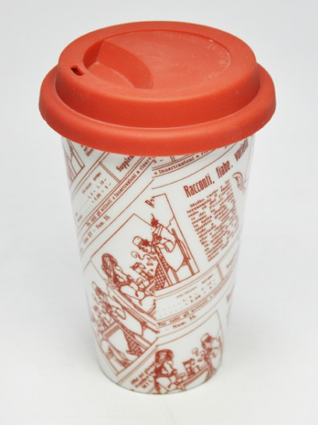 紅色圖紋圓錐型環保杯