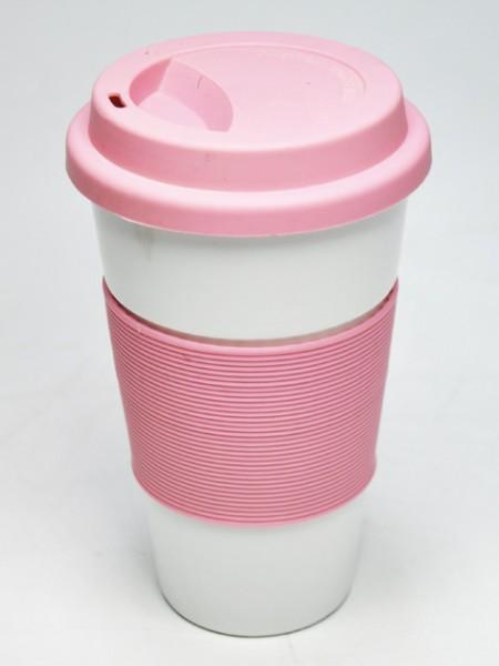 粉紅套理圓錐型環保杯