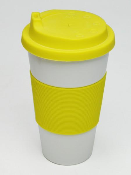 黃色套理圓錐型環保杯