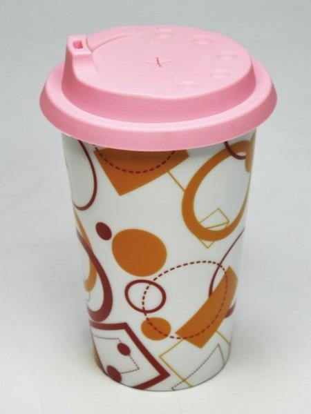 橘色印刷圓錐型環保杯