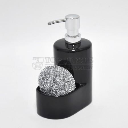 黑色廚房造型陶瓷乳液及刷球架
