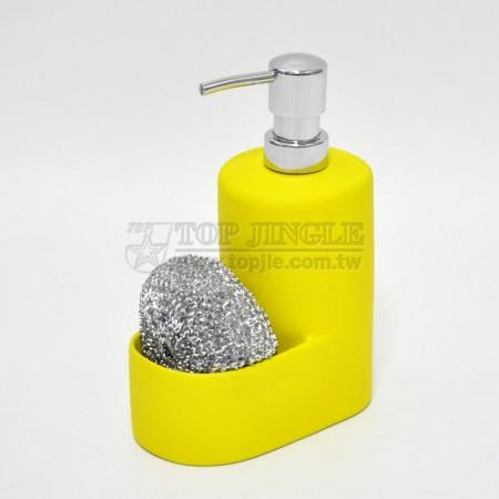 黃色廚房造型陶瓷乳液及刷球架