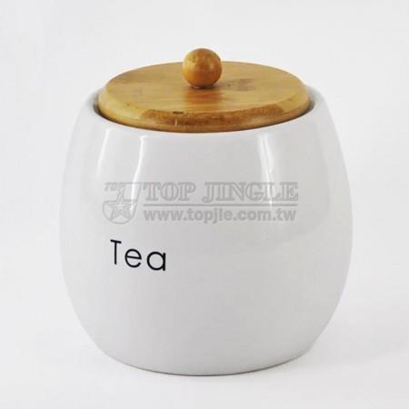 陶瓷球型密封茶罐,竹蓋