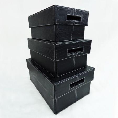 鱷魚紋大中小皮長方形儲物盒3件組