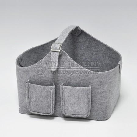 灰色雙口袋提把毛氈布雜誌籃