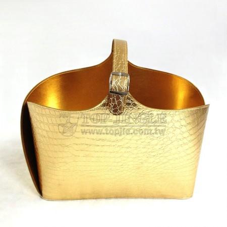 金色鱷魚紋皮手提籃