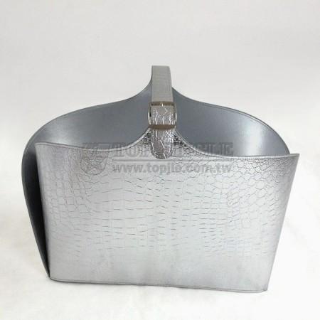 銀色鱷魚紋皮手提籃