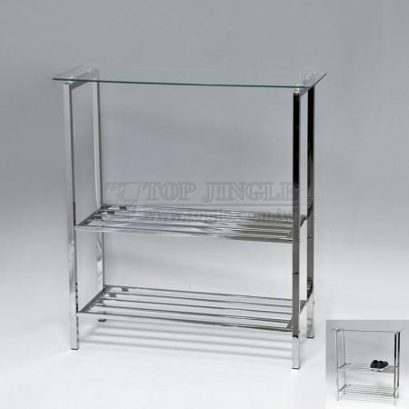 長方造型二層鞋架,玻璃置物架