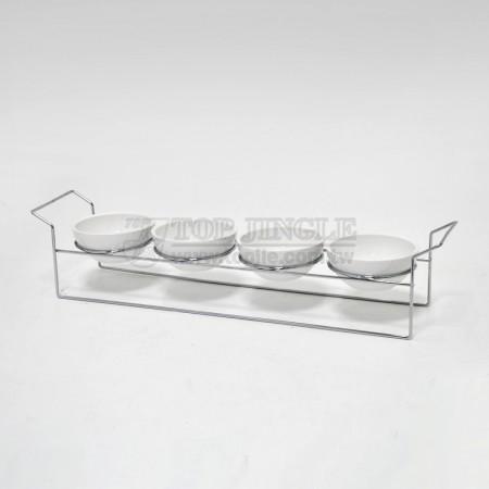 鐵線四入小圓碗點心盤架