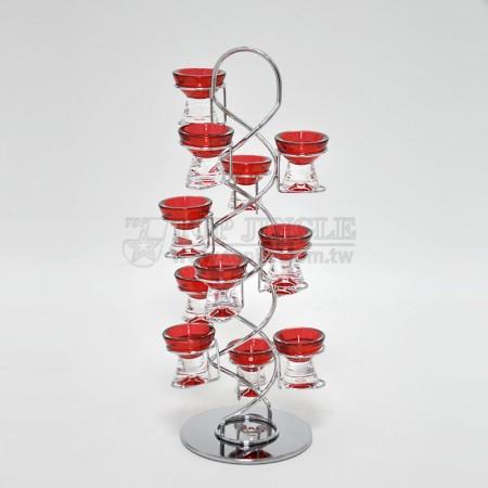 紅色旋轉鐵線12入蛋杯架